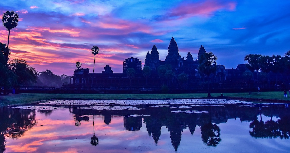 Sunrise at Angkor Wat temple in Siem Reap Cambodia