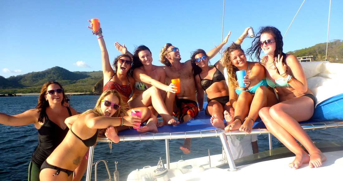 party shot on sailboat