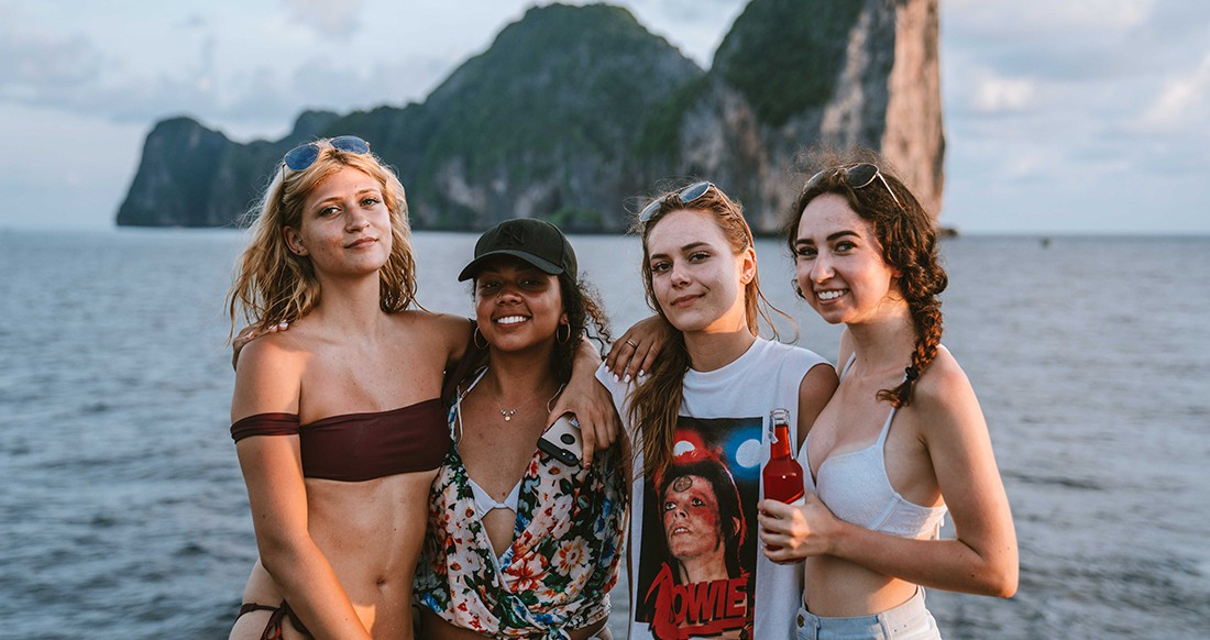 A group of girls on a boat in Thailand