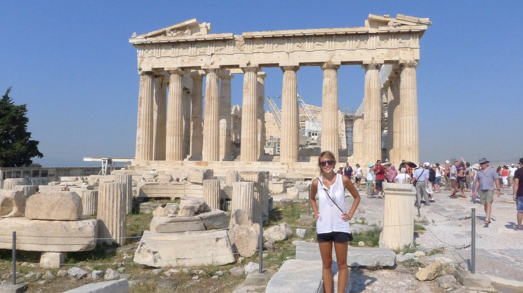 girl touring the ruins of athens greece