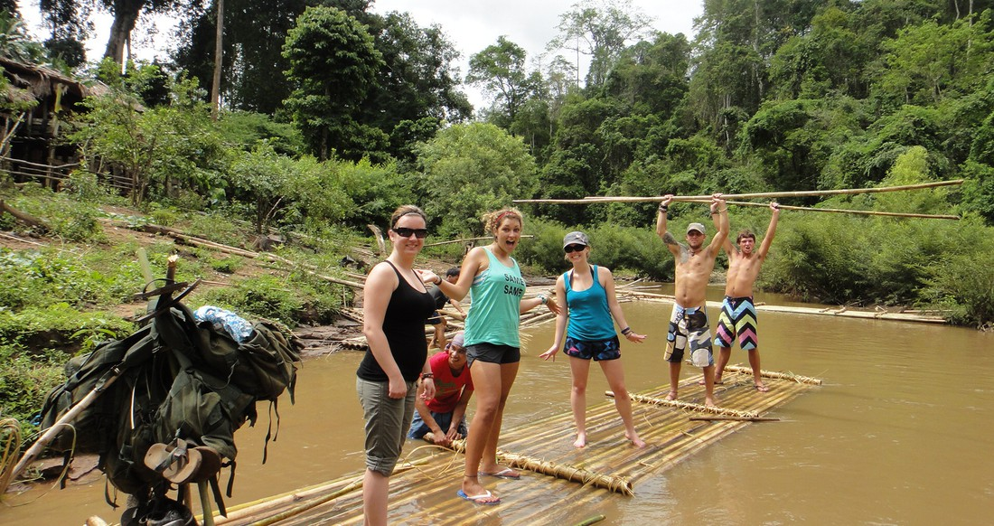 bamboo rafting in the jungle of northern Thailand