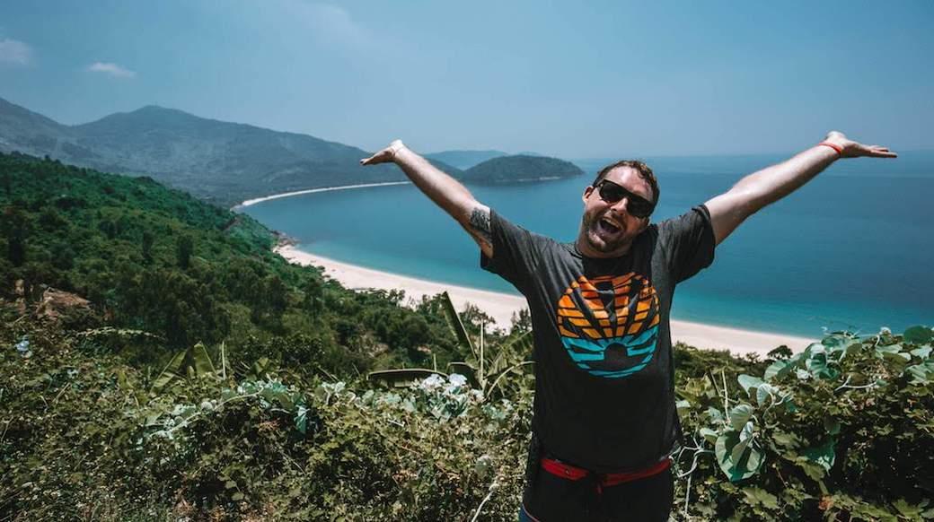guy at vietnamese coastal viewpoint