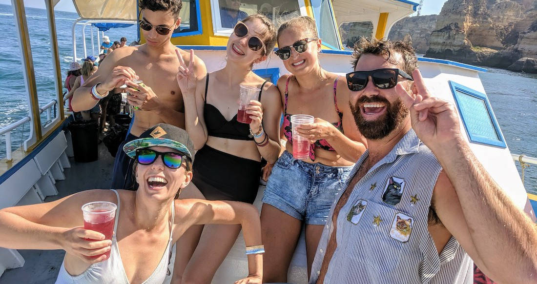 A group of travelers on a booze cruise