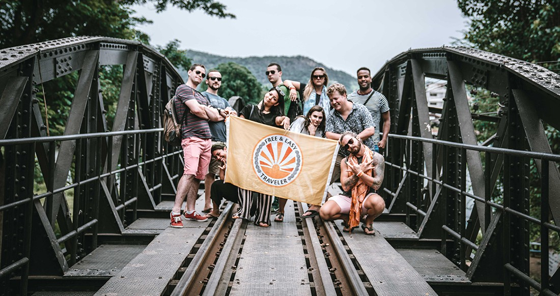 group shot on a bridge over river Kwai Thailand