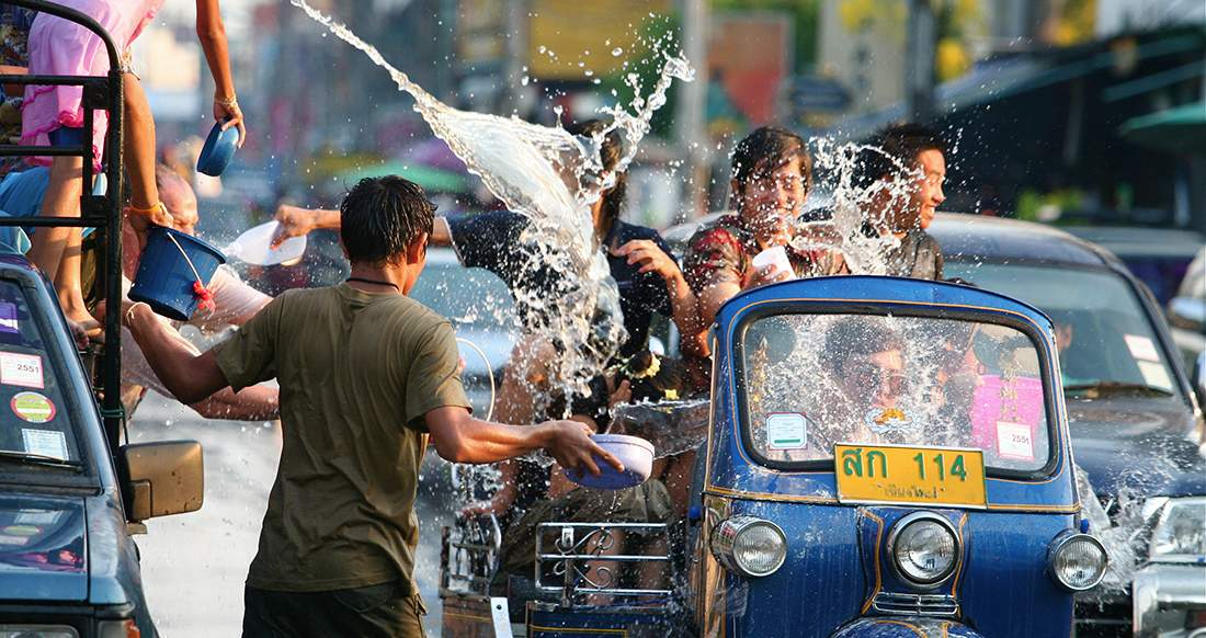 Thai people celebrating Songkran in Chiang Mai