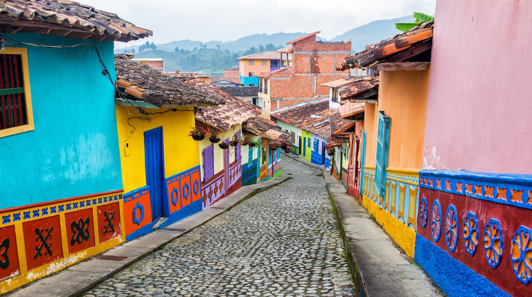 view of the colourful buildings in guatape colombia