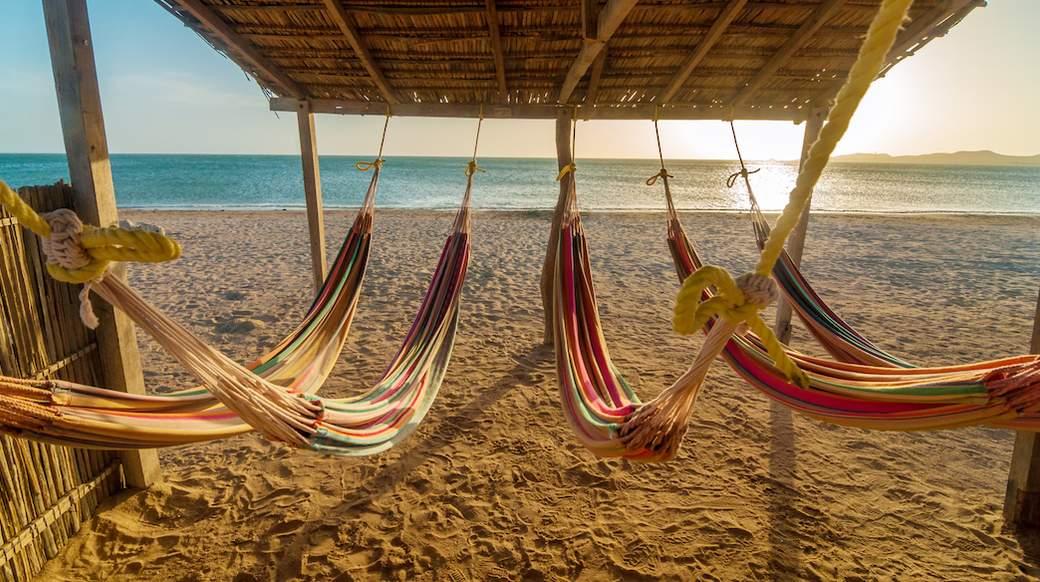 hammocks on costeno beach in colombia