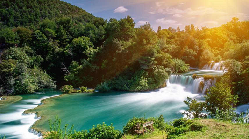 An aerial shot of Krka Falls in Croatia