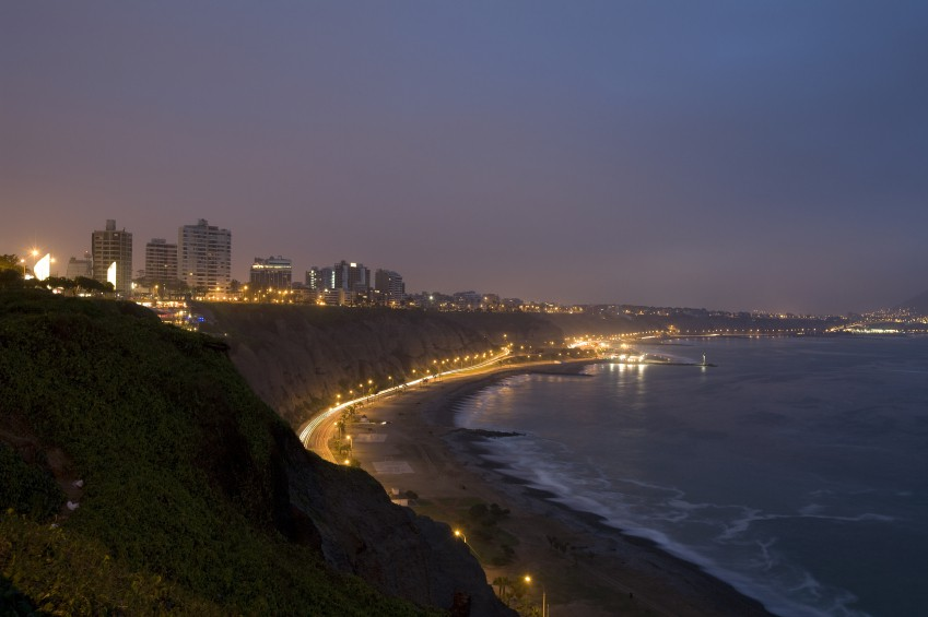 view of the coast of lima peru at night