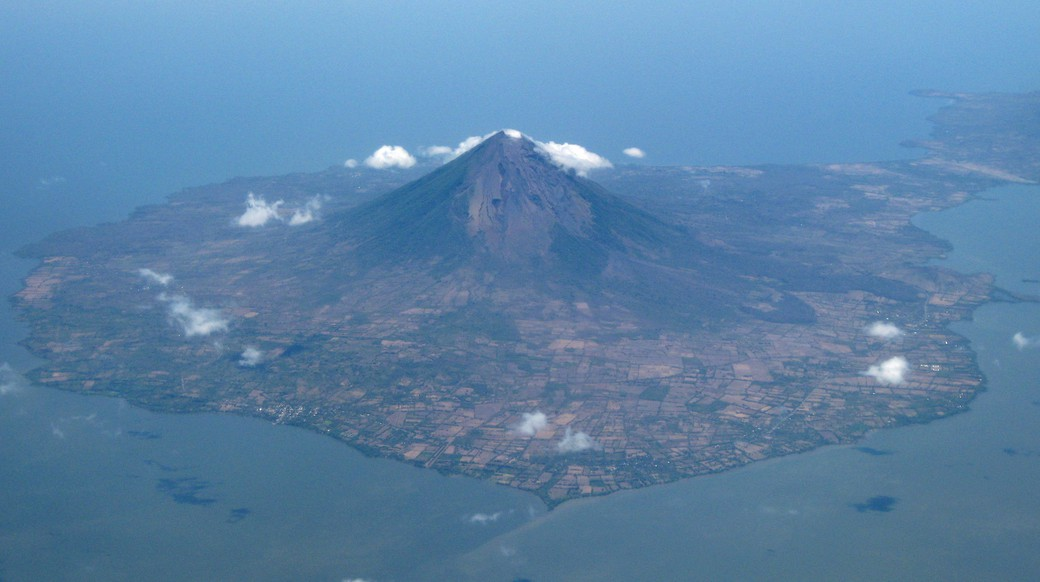 arial view of ometepe volcano in Nicaragua