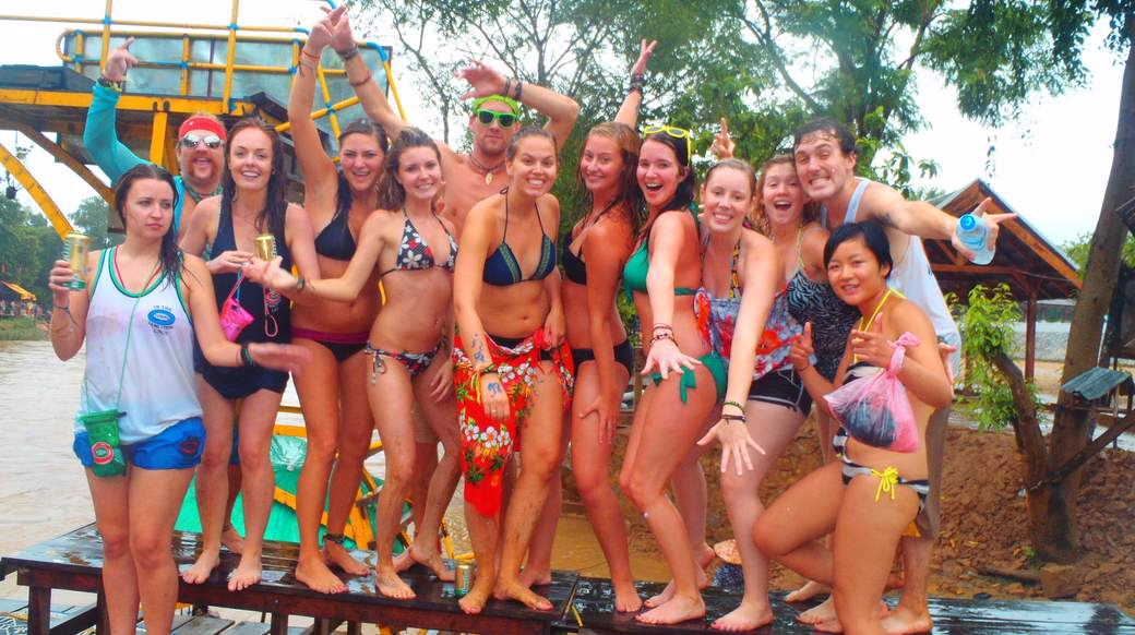 Group of girls partying in Vang Vieng Laos