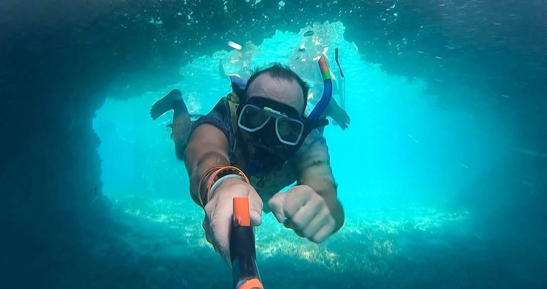 Underwater scuba diving selfie in the Philippines