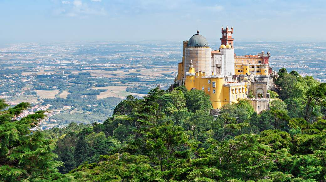 stunning view of the castle in Sintra Portugal
