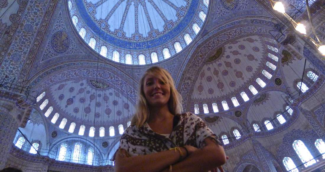 turkey blue mosque beautiful girl