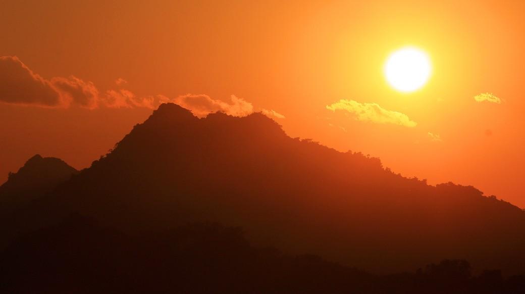 beautiful sunset in Laos