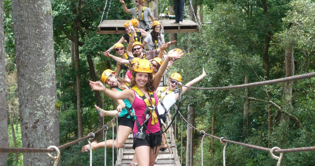 Group of travelers on a tree top hike in Laos