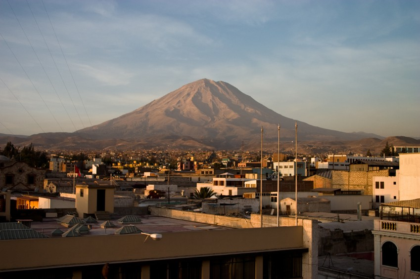 Volcanos in the distance of Arequipa Peru
