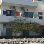 A white hotel with a string of colourful towels hanging from a clothing line and a beautiful tree with red flowers