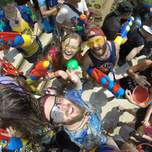 A group of songkran revellers from a birds eye view.