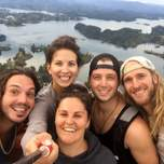 Group shot on top of En Penol in Guatape Colombia