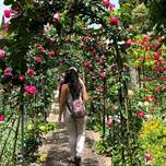 A girl seen from behind walks through a tunnel of pink flowers.