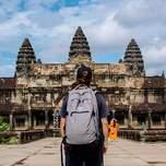 Dude standing in front of Angkor Wat in Cambodia
