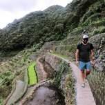 A traveler treks through the rice terraces of banaue.