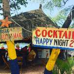 colourful signs displaying drink specials