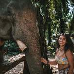 A smiling girl is touching an elephant;s trunk.