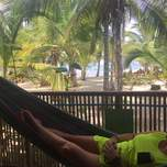 View from the hammock on the porches of the cabanas in Colombia