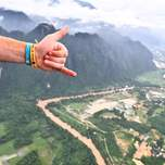 View of Vang Vieng, Laos from a hot air balloon