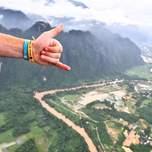 View of Vang Vieng, Laos from a hot air balloon