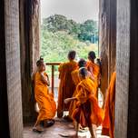 Buddhist monks in training in Angkor Wat Cambodia