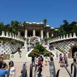 A crowded day on the steps leading up to park guell in Barcelona.