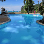 A large swimming pool overlooking Railay.