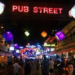 View of Pub Street at night in Siem Reap Cambodia
