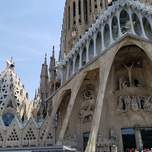 The detailed exterior of the Sagrada Familia in Barcelona.