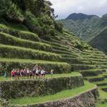 A group of travelers on a the edge of a steep hill of rice terraces, shown from far away