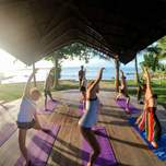 A group of yogis practice yoga next to the ocean.