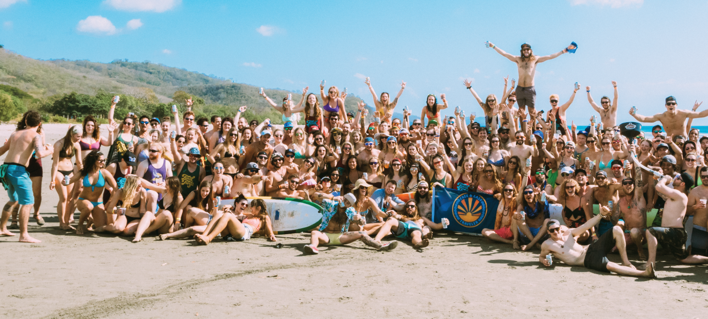 Happy people on a beach in Nicaragua.