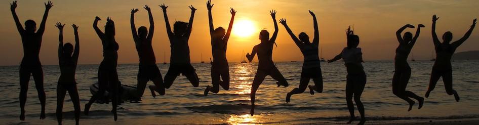 beach, jump, group, fun, sunset