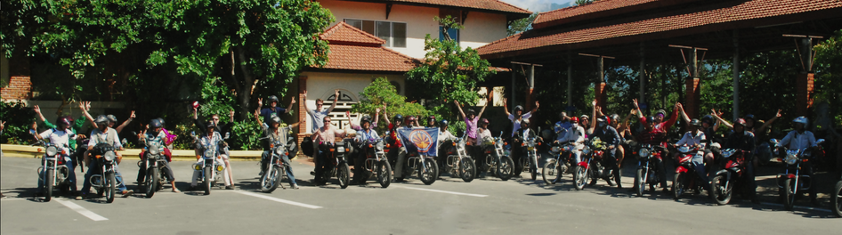 A group of travelers on motorcycles in Vietnam