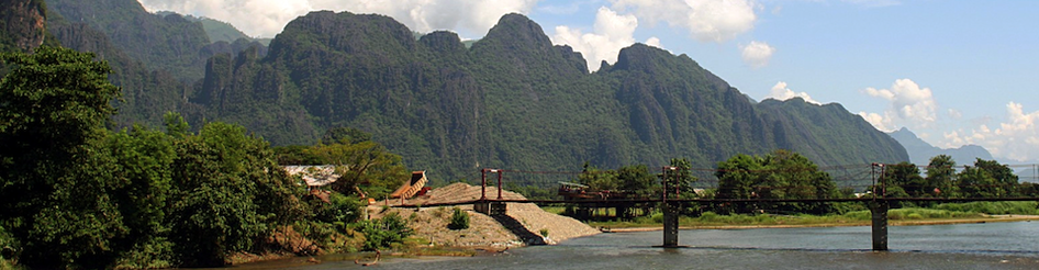 View of the green mountains in Vang Vieng Laos